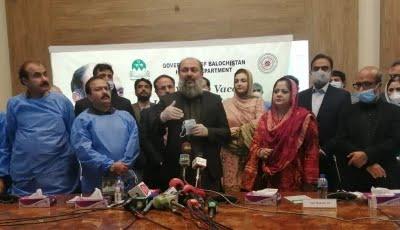 balochistan cm jam kamal addresses the inauguration ceremony of the covid 19 vaccination drive photo ghalib nihad