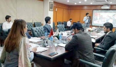 panelists at the islamabad office connect with experts in china via a video link photo file